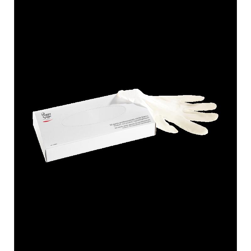 50 gants professionnels nitrile blancs - M