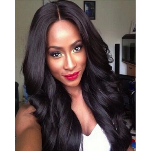 Perruque de cheveux naturels de brésilienne et afro-Américain, long et ondulés
